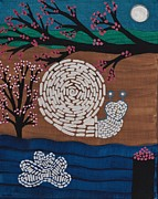 Cherry Blossoms Paintings - Moon Snail Bella Coola by Barbara St Jean