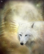 White Wolf Posters - Moon Spirit 1 - White Wolf - Golden Poster by Carol Cavalaris
