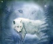 Moon Spirit 2 - White Wolf - Blue Print by Carol Cavalaris