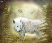 Animal Art Print Mixed Media Posters - Moon Spirit 2 - White Wolf - Golden Poster by Carol Cavalaris