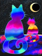 Nick Gustafson Prints - Moon Star Cats Print by Nick Gustafson
