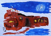 Mary Carol Art Drawings - Moon Stars Steel Mill by Mary Carol Williams