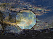 Moonscape Digital Art Prints - Moon Theatrics Print by J Larry Walker