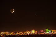 Moon-venus Over Reno Print by Janis Knight