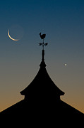 Crescent Moon Photos - Moon whale Venus. by Steve Myrick