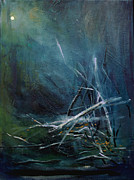 Winter Night Painting Metal Prints - Moon When Limbs of Trees Are Broken by Snow  January Metal Print by Ethel Vrana