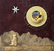 Man In The Moon Mixed Media Prints - Moonbeam Cat Print by Ellen Miffitt