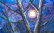 Galaxy Mixed Media Prints - Moondance II Print by Patricia Allingham Carlson