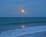 Sea Moon Full Moon Photo Posters - Moonglow Poster by Carol  Bradley - Double B Photography