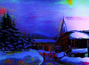 Snowy Night Paintings - Moonglow On Powder by Carole Spandau