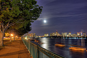 Night Scenes Prints - Moonglow Over Boston Print by Joann Vitali