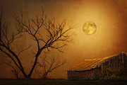 Sheds Digital Art Prints - Moonglow over Polenz Ranch Print by Nikolyn McDonald