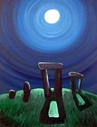 Henge Paintings - Moonhenge by Brian Orion