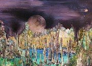 Henge Paintings - Moonhenge by Kaye Miller-Dewing