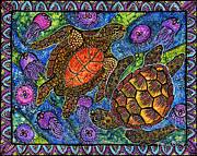 Ocean Turtle Paintings - Moonjelly Dance by Melissa Cole
