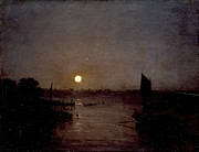 Romanticism Posters - Moonlight a study at Millbank 1797 Poster by Joseph Mallord William Turner