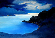 Serenity Landscapes Paintings - MOONLIGHT and JEWELS  by Shasta Eone