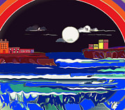 Jan Steadman-jackson Posters - Moonlight and the Sea Poster by Jan Steadman-Jackson