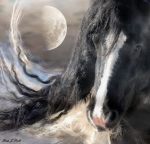 Horse Artwork Prints - Moonlight and Valentino Print by Fran J Scott
