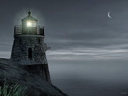 Lighthouse At Sunset Prints - Moonlight at Castle hill Print by Lourry Legarde