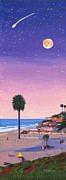 Volley Prints - Moonlight Beach at Dusk Print by Mary Helmreich
