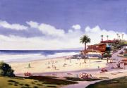 Surfing Paintings - Moonlight Beach Encinitas by Mary Helmreich