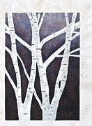 Gold Tapestries - Textiles Posters - Moonlight Birch Trees Poster by Patty Caldwell