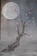 Plum Blossoms Paintings - Moonlight Blossoms Gekkoka by Steve  Lucas
