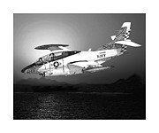 Navy Drawings Posters - Moonlight Buckeye T 2C training mission Poster by Jack Pumphrey