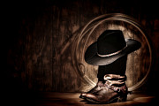 Cowboy Boots Art - Moonlight Cowboy by Olivier Le Queinec