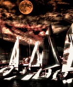 Night Tapestries - Textiles Metal Prints - Moonlight Cruise Metal Print by Robert McCubbin