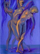 Violet Art Pastels Prints - Moonlight Dance Print by Lucy Morar