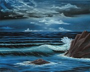 Ocean Scenes Mixed Media Prints - Moonlight  Print by Dave Carr