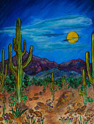 Desert Pyrography Metal Prints - Moonlight Desert Nite Metal Print by Mike Holder