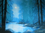 Serenity Scenes Paintings - Moonlight  Dream  by Shasta Eone