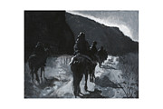 Horse Riders Painting Originals - Moonlight Drive by Mike Walrath