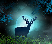 Starry Digital Art Framed Prints - Moonlight Elk Framed Print by Bedros Awak