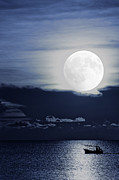 Wooden Ship Prints - Moonlight Fishingboat Print by Antony McAulay