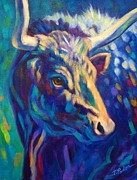 Longhorn Paintings - Moonlight Gaze by Theresa Paden