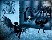 Black White Angels Art Prints - Moonlight In Blue Print by Teri Schuster