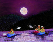 Kayaking Pastels Posters - Moonlight Kayak on the Lake Poster by Carol Kovalchuk