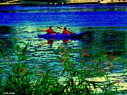 South West Montreal Posters - Moonlight Kayak Ride Along The Coastline Of The Lachine Canal Quebec Sea Scenes Carole Spandau Poster by Carole Spandau