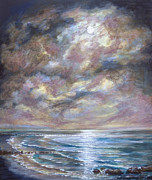 Moonscape Paintings - Moonlight Mood by Sandra  Francis