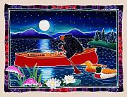 Lake Art Posters - Moonlight on a Red Canoe Poster by Harriet Peck Taylor