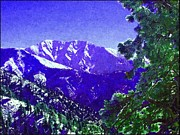 Snow Scenes Digital Art Metal Prints - Moonlight On Mount Baldy Metal Print by Glenn McCarthy Art and Photography