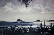 Kayaking Art Paintings - Moonlight on the Mokuluas Oahu by Therese Fowler-Bailey
