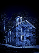 Stone Home Posters - Moonlight on the Old Stone Building  Poster by Edward Fielding
