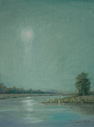 Silver Moonlight Paintings - Moonlight on the River by Sarah Parks