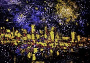 Pallet Knife Digital Art Metal Prints - Moonlight Over City Metal Print by Michael Kulick