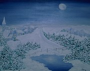 Inge Lewis Prints - Moonlight over Kitzbuehel Print by Inge Lewis